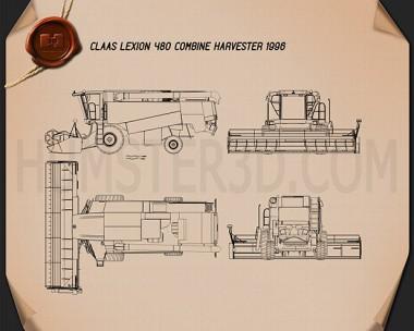 Claas Lexion 480 Combine Harvester 1996 Blueprint