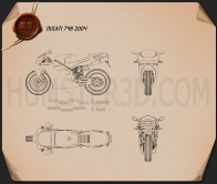 Ducati 748 Sport Bike Blueprint