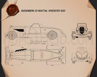 Duesenberg SJ Boattail Speedster 1933 Blueprint