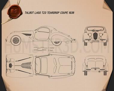 Talbot-Lago Teardrop Coupe 1938 Blueprint