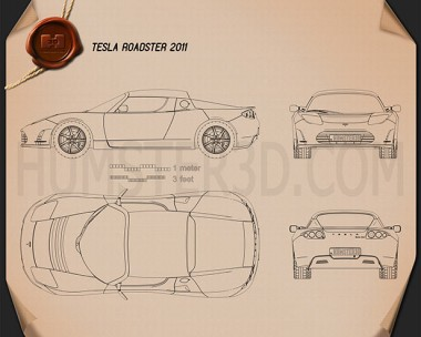 Tesla Roadster 2011 Blueprint