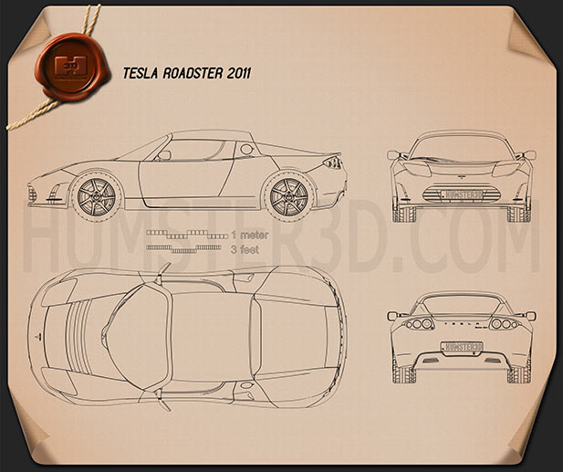 Tesla Roadster 2011 Blueprint Hum3d