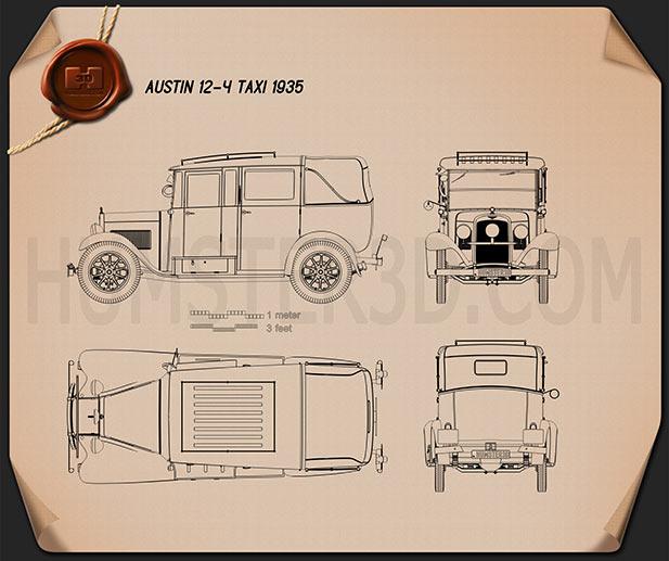 Austin 12/4 Taxi 1935 Blueprint