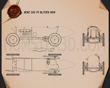 Benz Blitzen 1909 Blueprint