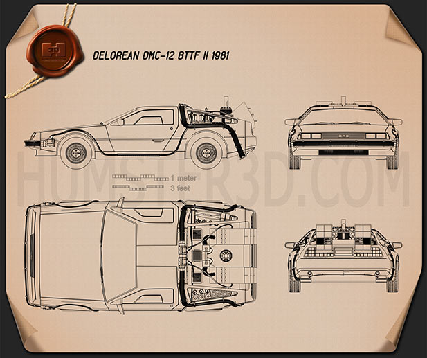 DeLorean DMC-12 (BTTF) 1981 Blueprint
