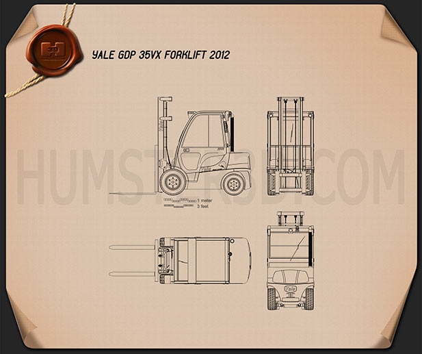 Yale GDP 35VX Forklift 2012 Blueprint
