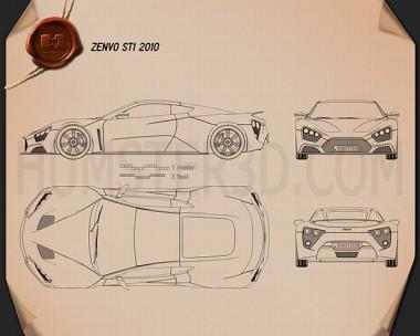 Zenvo ST1 2010 Blueprint