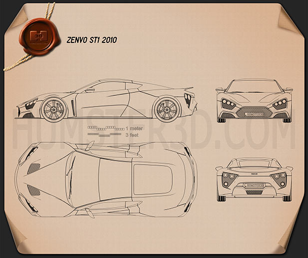 Zenvo ST1 2010 Blueprint
