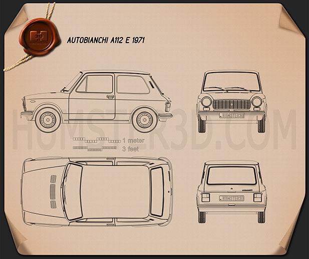 Autobianchi A112 E 1971 Blueprint