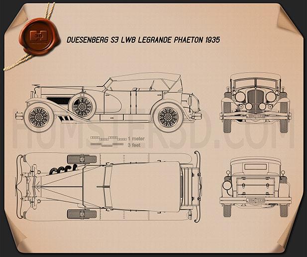 Duesenberg SJ Phaeton LWB LaGrande 1935 Blueprint