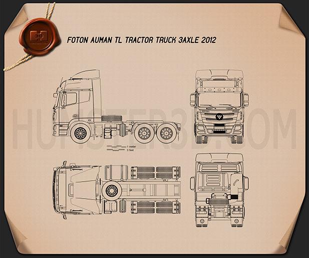 Foton Auman TL Tractor Truck 2012 Blueprint