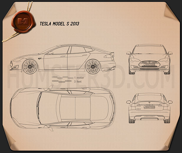 Tesla Model S 2012 Blueprint Hum3d