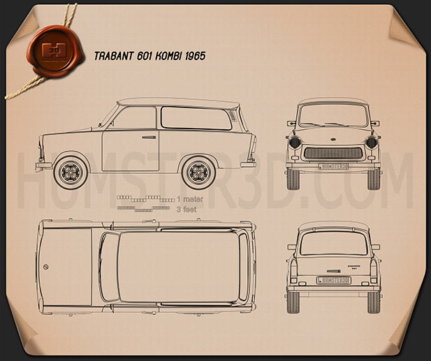 trabant 601 kombi 1965 blueprint hum3d. Black Bedroom Furniture Sets. Home Design Ideas