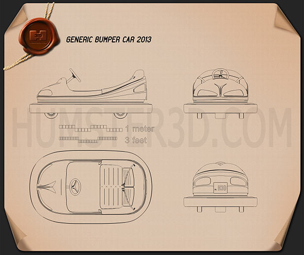 Bumper Car Blueprint - Hum3D