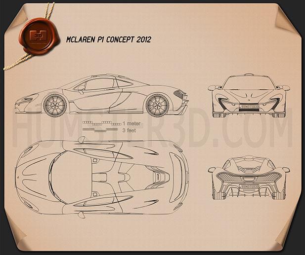 McLaren P1 2013 Blueprint