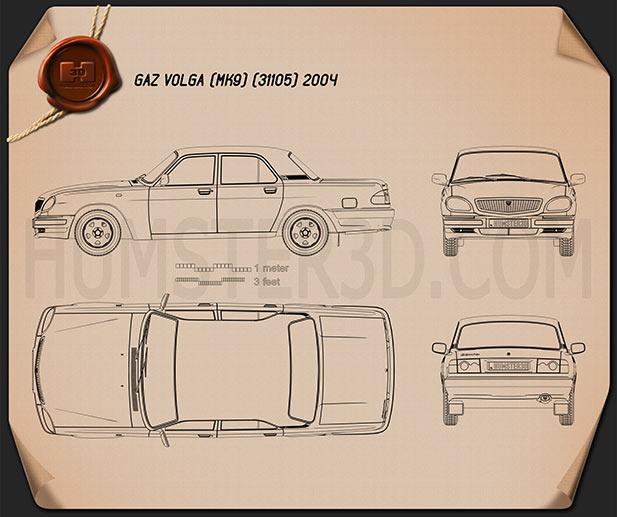 GAZ 31105 Volga 2005 Blueprint