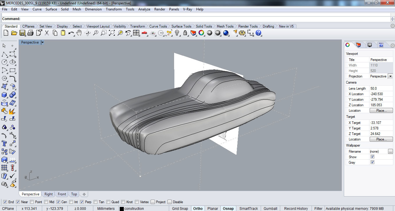 Modelling the main car body surface