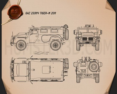 GAZ Tiger-M 2011 Blueprint