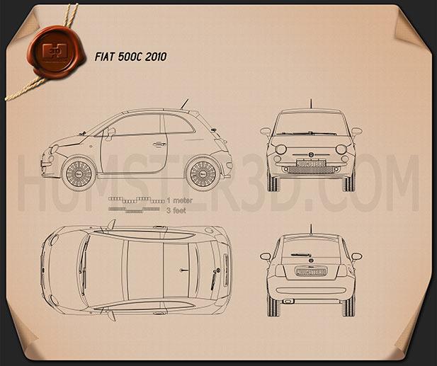 Fiat 500 2010 Blueprint