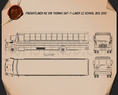Thomas Saf-T-Liner C2 School Bus 2012 Blueprint