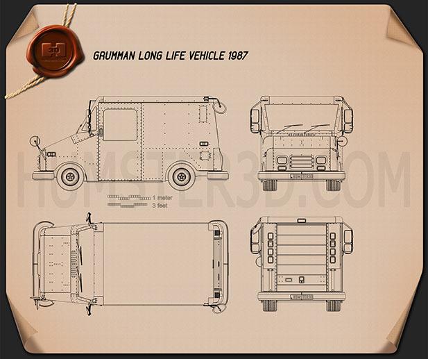 Grumman Long Life Vehicle 1987 Blueprint