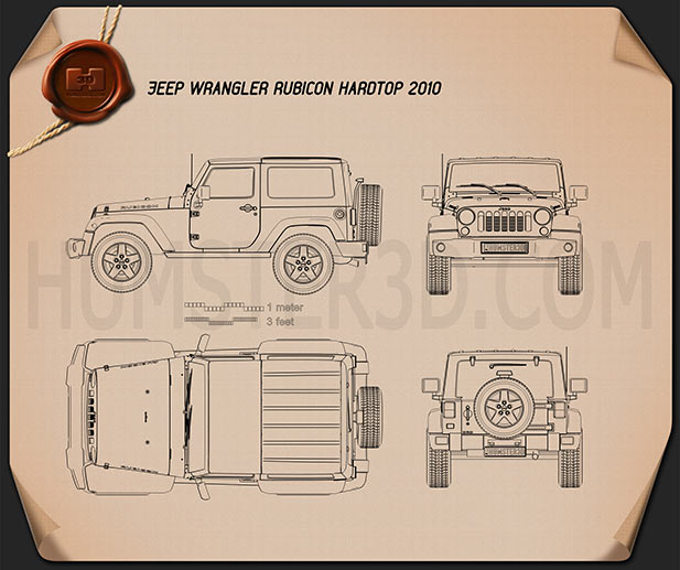 Jeep Wrangler Rubicon Hardtop 2010 Blueprint