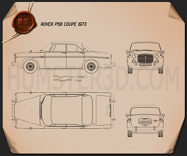 Rover P5B coupe 1973 Blueprint