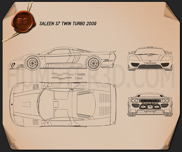 Saleen S7 Twin Turbo 2009 Blueprint
