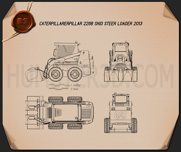 Caterpillar 226B Skid Steer Loader Blueprint