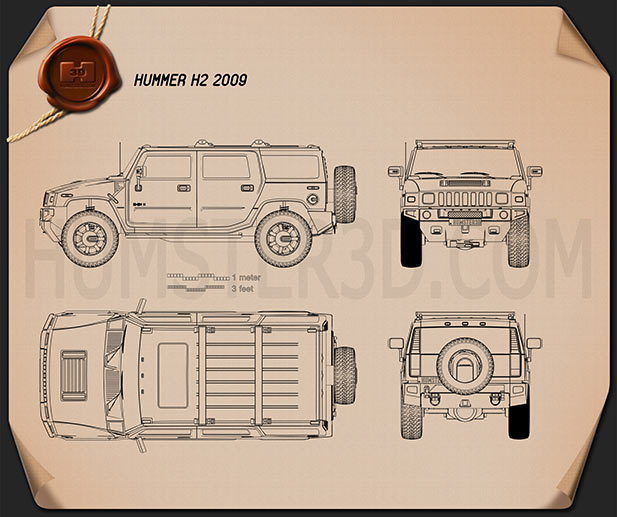 Hummer H2 2009 Blueprint - Hum3D