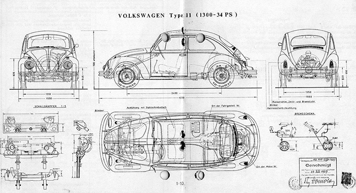VW Beetle blueprint