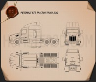 Peterbilt 579 Tractor Truck 2012 Blueprint