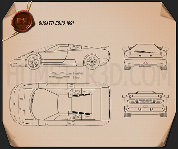Bugatti EB110 1991 Blueprint