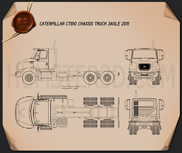 Caterpillar CT610 Chassis Truck 2011 Blueprint