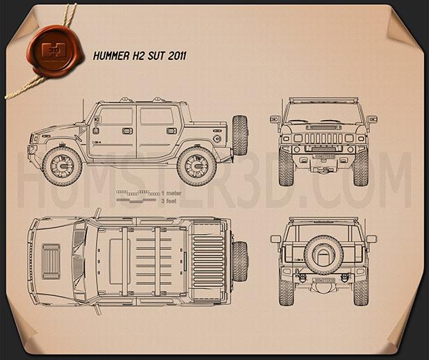 Hummer H2 SUT 2011 Blueprint