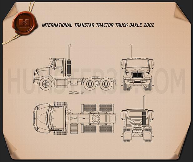International Transtar Tractor Truck 2002 Blueprint