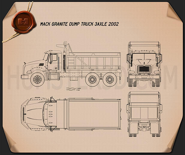 Mack Granite Dump Truck 2002 Blueprint