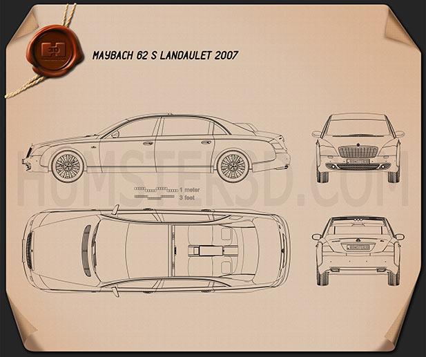 Maybach 62S Landaulet 2007 Blueprint