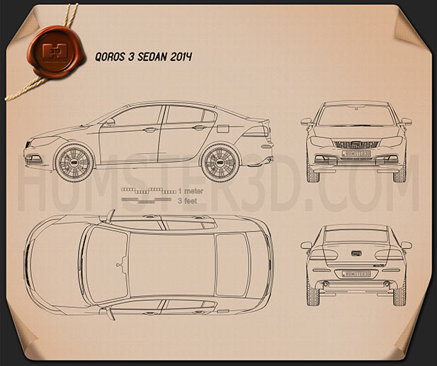 Qoros 3 sedan 2014 Blueprint