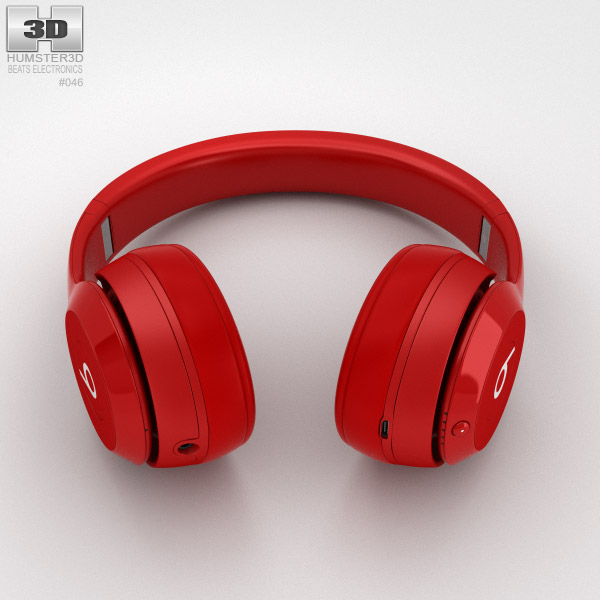 2d495bbbcb3 ... Beats by Dr. Dre Solo2 Wireless Headphones Red 3d model ...