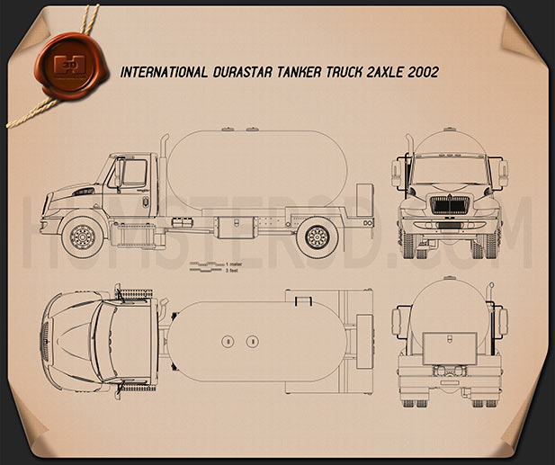 International Durastar Tanker Truck 2002 Blueprint