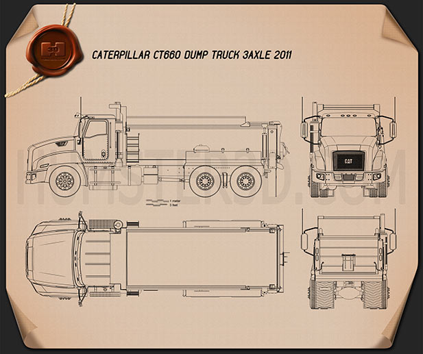 Caterpillar CT660 Dump Truck 2011 Blueprint