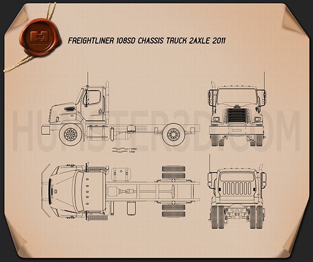 Freightliner 108SD Chassis Truck 2011 Blueprint