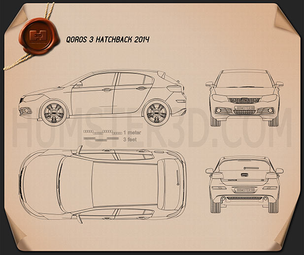 Qoros 3 hatchback 2014 Blueprint