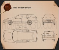 Saab 9-5 Aero wagon 2005 Blueprint