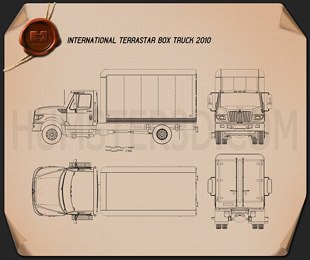 International Terrastar Box Truck 2010 Blueprint