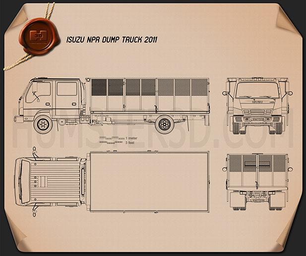 Isuzu NPR Dump Truck 2011 Blueprint