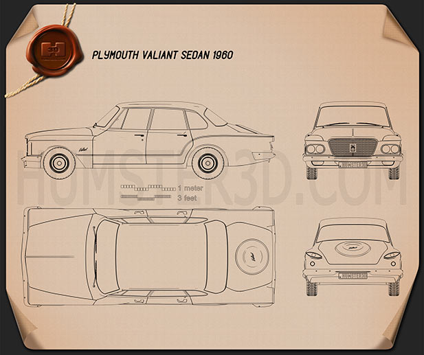 Plymouth Valiant sedan 1960 Blueprint