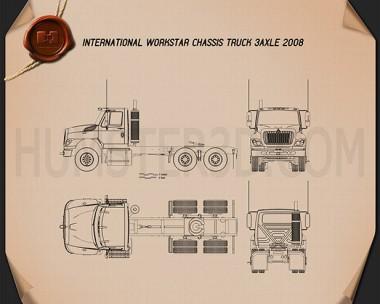 International Workstar Chassis Truck 2008 Blueprint