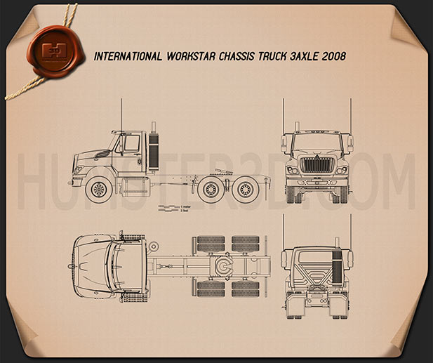 International Workstar Chassis Truck 2008 Blueprint